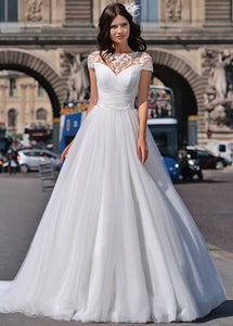 Ruched Tulle A-line Wedding Dresses with Enchanting Illusion Neckline - Mr. & Mrs. Tomorrow