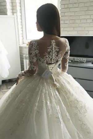 Gorgeous Long Sleeves Illusion Ball Gown - Mr. & Mrs. Tomorrow