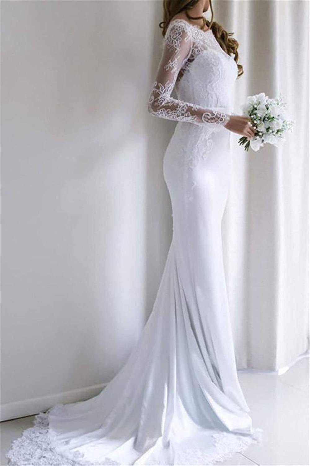 Delicate Lace Boat Neck Trumpet Wedding Dress with Sweep Train - Mr. & Mrs. Tomorrow