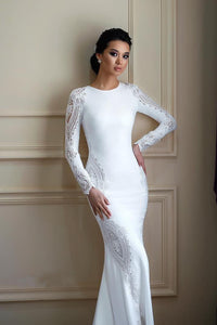 Conservative Body-Con Wedding Dress with Lace and Sweep Train - Mr. & Mrs. Tomorrow