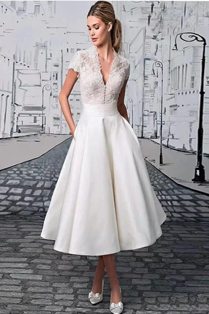 Chic Tea-Length Wedding Dress with Vintage Lace and V-neckline - Mr. & Mrs. Tomorrow