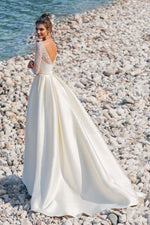 Chic and Romantic Satin Wedding Dress with Lacy Long Sleeve - Mr. & Mrs. Tomorrow