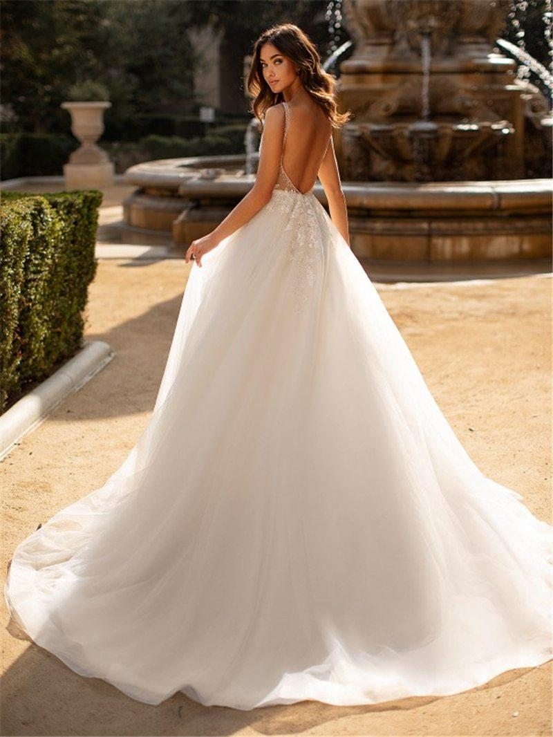 Sexy Backless A-Line Wedding Dress with Lace V-Neck - Mr. & Mrs. Tomorrow