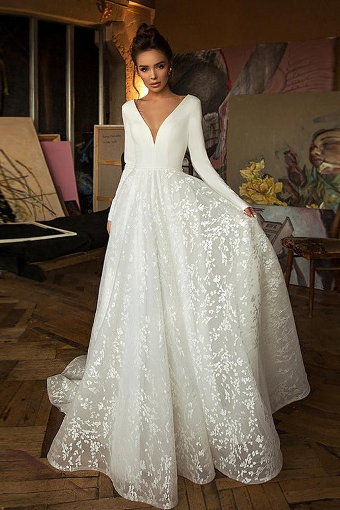 V-neck Boho Satin Bridal Gowns with A-Line Lace - Mr. & Mrs. Tomorrow