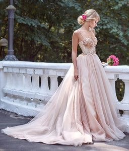 Fairytale Tulle Wedding Dress with Spaghetti Strap and Lace Top - Mr. & Mrs. Tomorrow