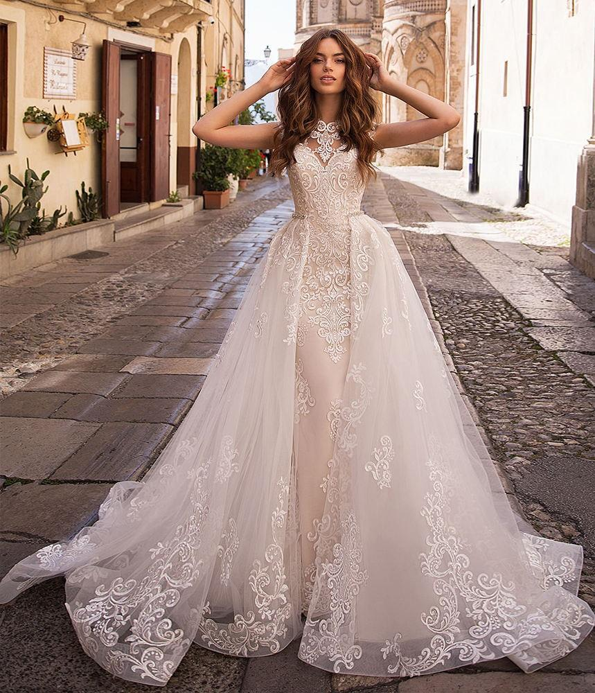 Elegant Lace Mermaid Wedding Dresses with Removable Train - Mr. & Mrs. Tomorrow