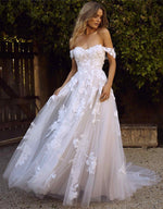 Dreamy Off Shoulder A-Line Wedding Dress with Floral Applique - Mr. & Mrs. Tomorrow