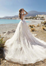 Elegant Vintage Lace Top Long Train Ball Gown - Mr. & Mrs. Tomorrow