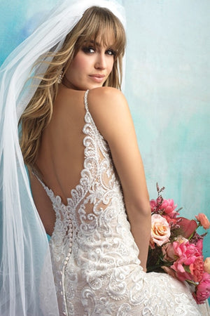Sexy Spaghetti Strap Mermaid Wedding Dress with Full Lace Applique - Mr. & Mrs. Tomorrow