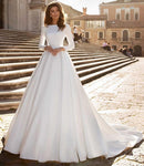 Simple Satin A-line Wedding Dress with Long Sleeve - Mr. & Mrs. Tomorrow