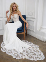 Elegant Mermaid Wedding Dress with Lace Train - Mr. & Mrs. Tomorrow