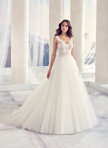 Simple V Neck Illusion Back Ball Gown - Mr. & Mrs. Tomorrow