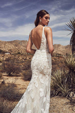 Sexy Appliqued Mermaid Wedding Dress with Deep V-neck and Long Train - Mr. & Mrs. Tomorrow