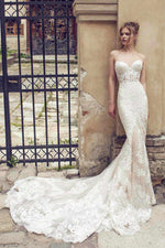 Sexy Bodycon Mermaid Wedding Dresses with Full Lace Appliques - Mr. & Mrs. Tomorrow