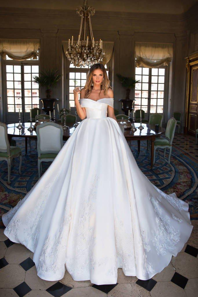 Glamorous Off-Shoulder Satin Ball Gown with Lace Appliques - Mr. & Mrs. Tomorrow