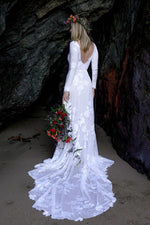 Boho Boat Neck Sheath Wedding Dress - Mr. & Mrs. Tomorrow