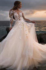 Dreamy Long Train A-Line Wedding Dress with Lace Top - Mr. & Mrs. Tomorrow