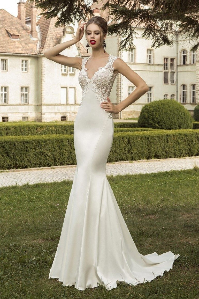 Elegant V Neck Sleeveless Backless Trumpet - Mr. & Mrs. Tomorrow