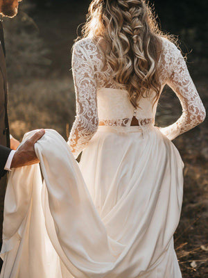 Vintage 2 Piece Wedding Dress with Long Sleeve Lace Top and Long Skirt - Mr. & Mrs. Tomorrow