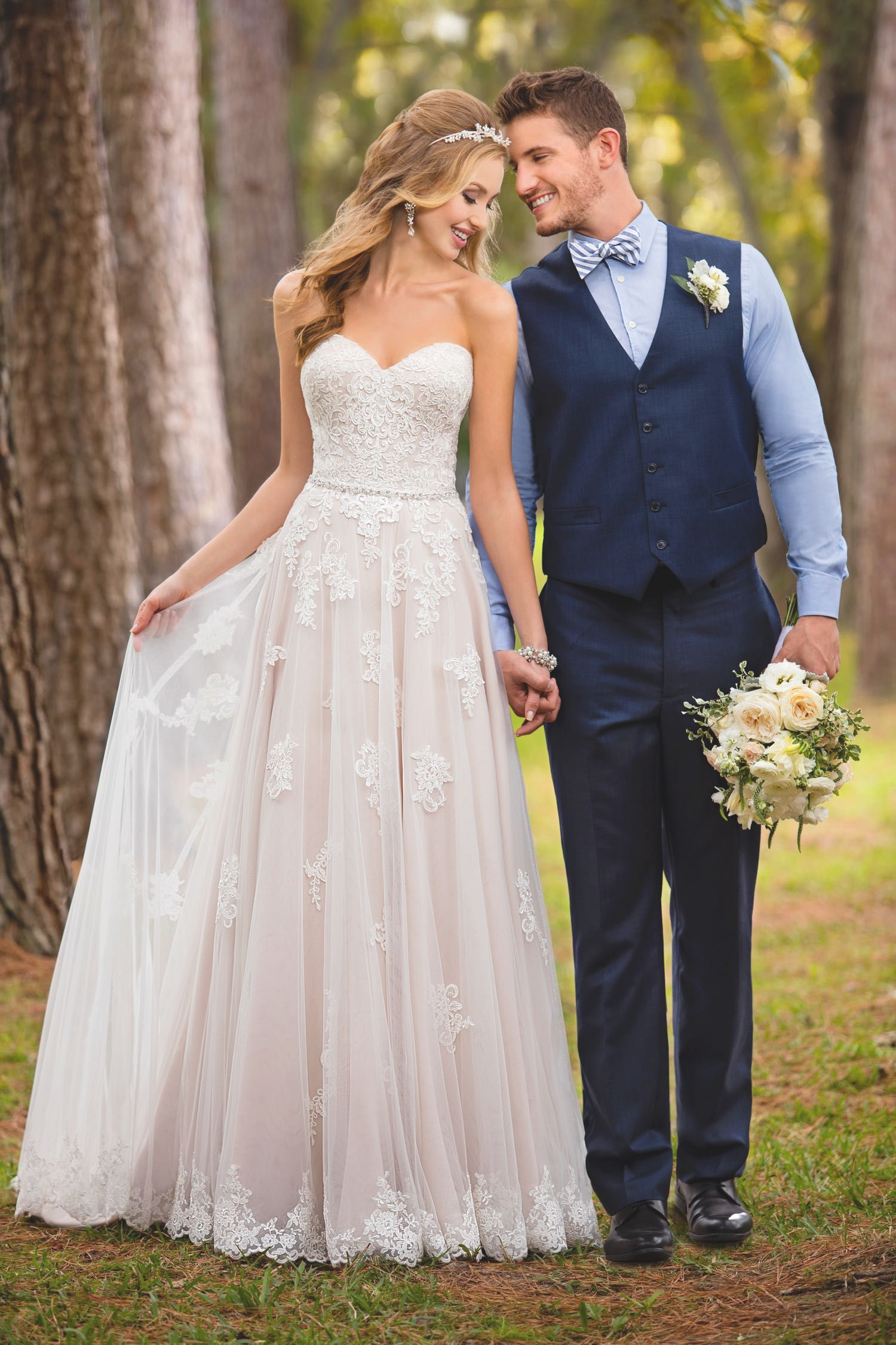 Floor-Length Lace Appliqued Wedding Dress with Sweetheart Neckline - Mr. & Mrs. Tomorrow