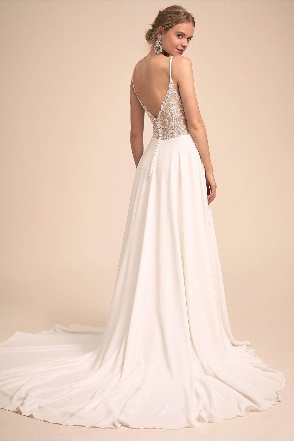 Charming Spaghetti Strap Satin Wedding Dress with Laced Open-Back - Mr. & Mrs. Tomorrow