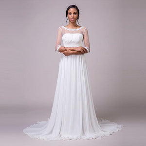 Vintage See-Through Neckline and Sleeve A-Line Wedding Dress - Mr. & Mrs. Tomorrow