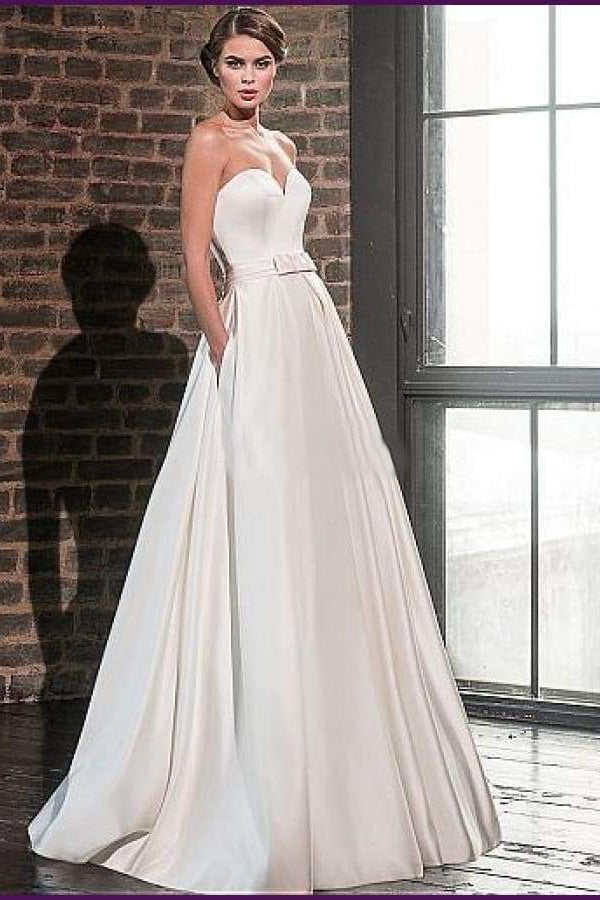 Elegant Sweetheart Satin Wedding Dress with Lace Jacket - Mr. & Mrs. Tomorrow
