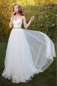 Sweetheart Sleeveless Tulle Open Back Sashes A-Line - Mr. & Mrs. Tomorrow