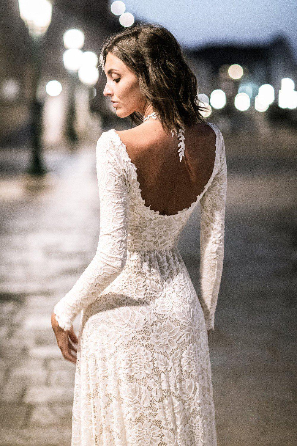 Full Lace Sheath Wedding Dress with Low-Back Design - Mr. & Mrs. Tomorrow