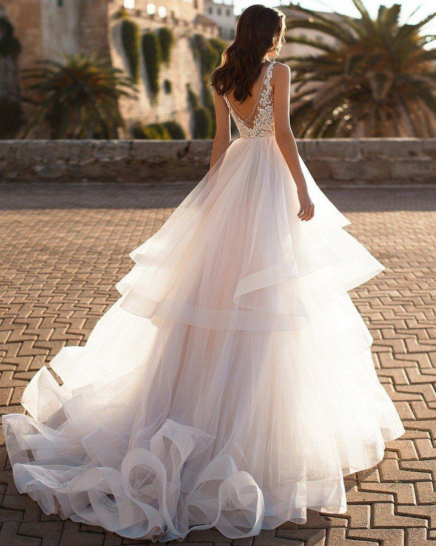 V-neck A-Line Wedding Dress with Layered Organza - Mr. & Mrs. Tomorrow