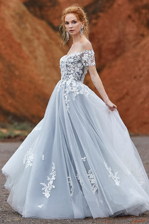 Dreamy Off Shoulder Laced A-Line Wedding Dress - Mr. & Mrs. Tomorrow