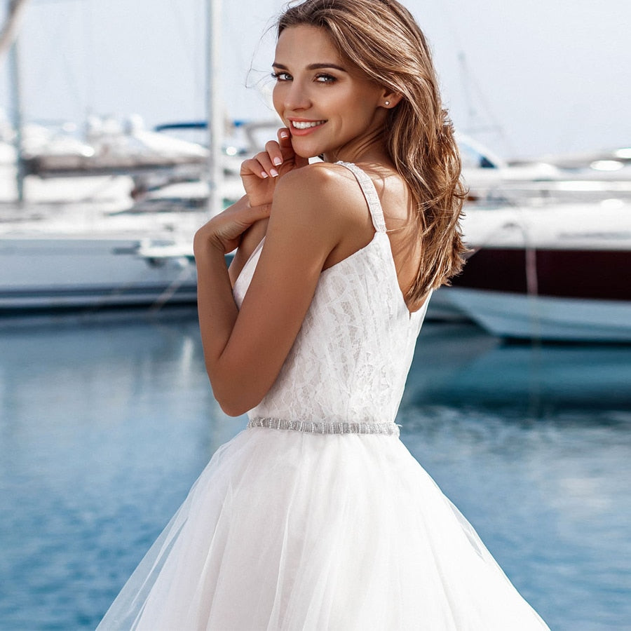 V-neck Ball Gown with Court Train - Mr. & Mrs. Tomorrow