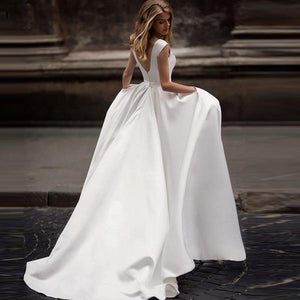 Simple Boat Neck with Pleated A-Line Wedding Dress - Mr. & Mrs. Tomorrow