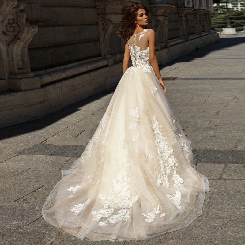 Dreamy Ball Gown with Illusion Neckline - Mr. & Mrs. Tomorrow