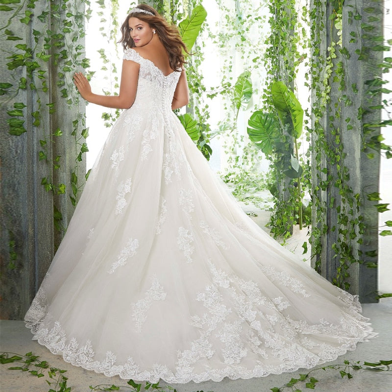 Laced Tulle Off Shoulder A-Line Wedding Dress - Mr. & Mrs. Tomorrow