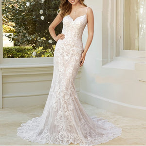 Elegant Spaghetti Strap Mermaid Wedding Dress - Mr. & Mrs. Tomorrow