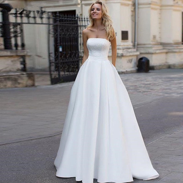 Simple Beaded Top A-Line Wedding Dress - Mr. & Mrs. Tomorrow