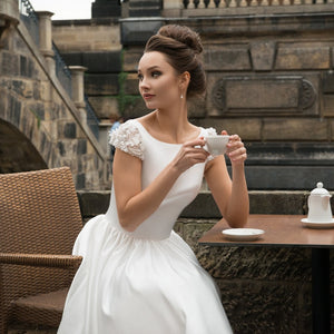 Backless Tea Length Contemporary Wedding Dress - Mr. & Mrs. Tomorrow