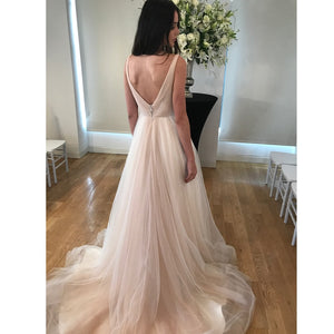 Simple Draped Tulle A-Line Wedding Dress - Mr. & Mrs. Tomorrow