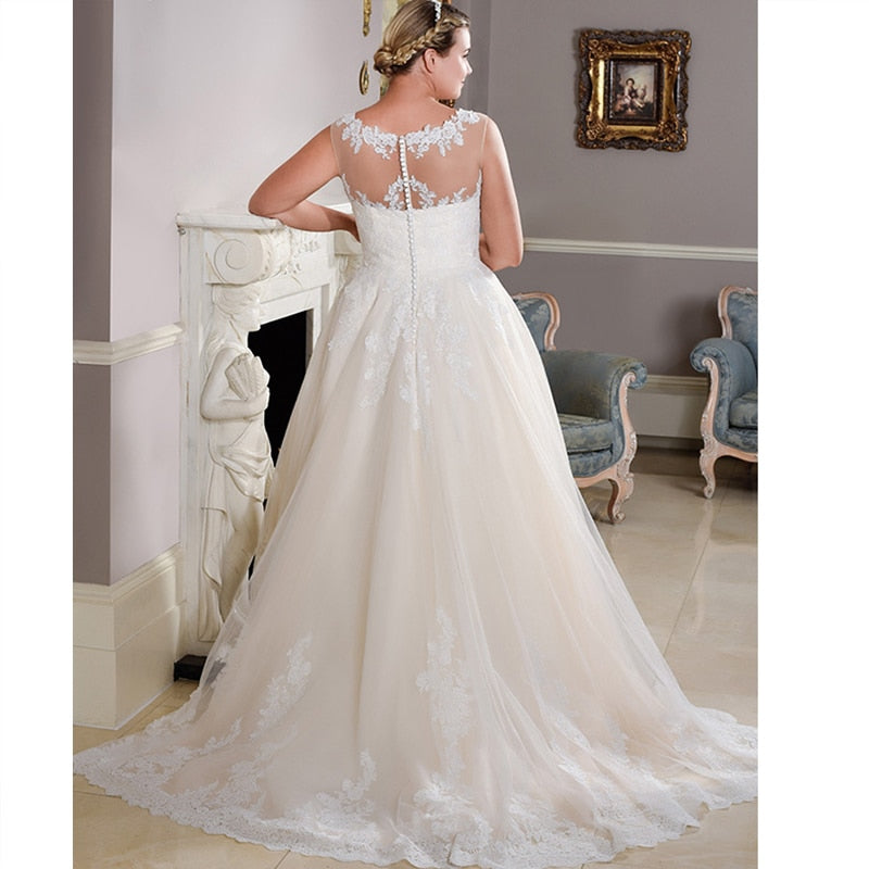 Illusion Boat Neck Ball Gown with Lace Applique - Mr. & Mrs. Tomorrow