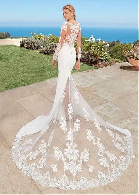 Elegant Mermaid Wedding Dress with See-Through Train - Mr. & Mrs. Tomorrow