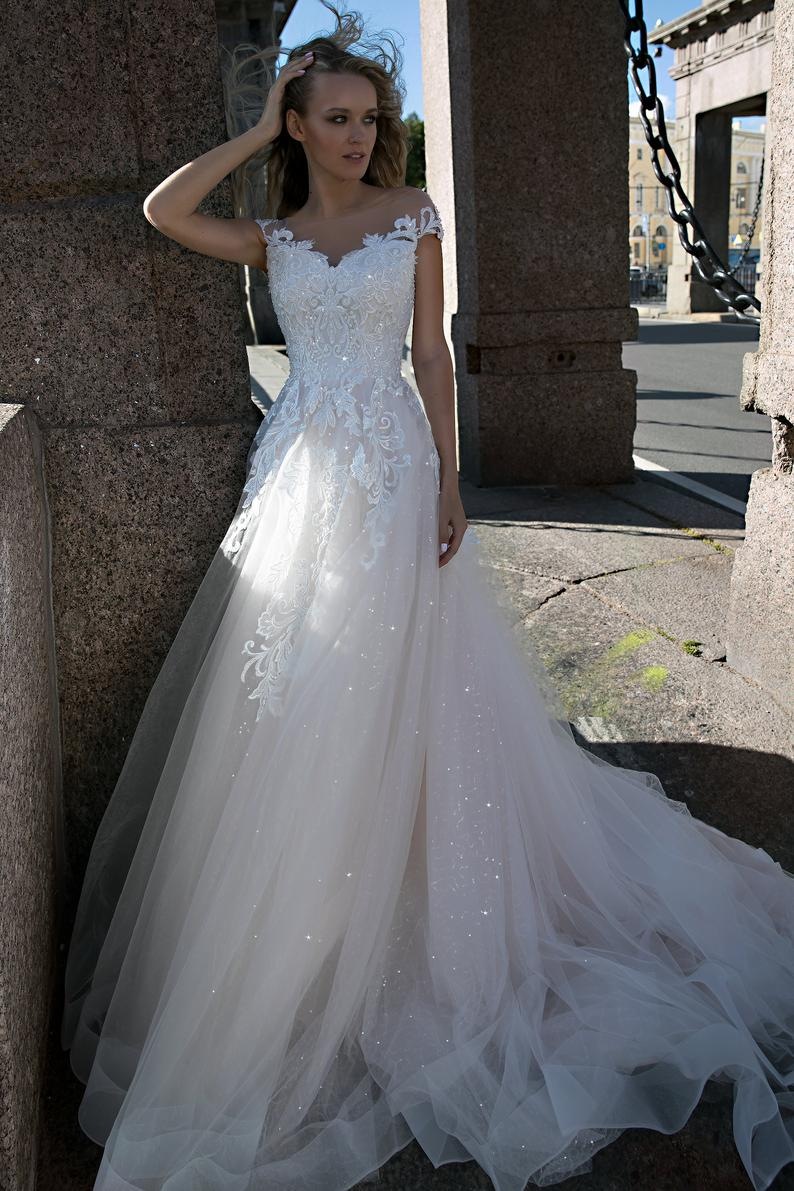 Dreamy A-line Wedding Dress with Illusion Neckline - Mr. & Mrs. Tomorrow
