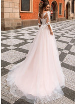 Dreamy A-Line Wedding Dress with Lace Illusion Sleeve - Mr. & Mrs. Tomorrow