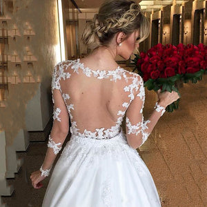 Elegant Lace Long Sleeve Sexy Ilusion Back A-Line - Mr. & Mrs. Tomorrow