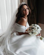 Romantic Off-Shoulder Satin Wedding Gown - Mr. & Mrs. Tomorrow