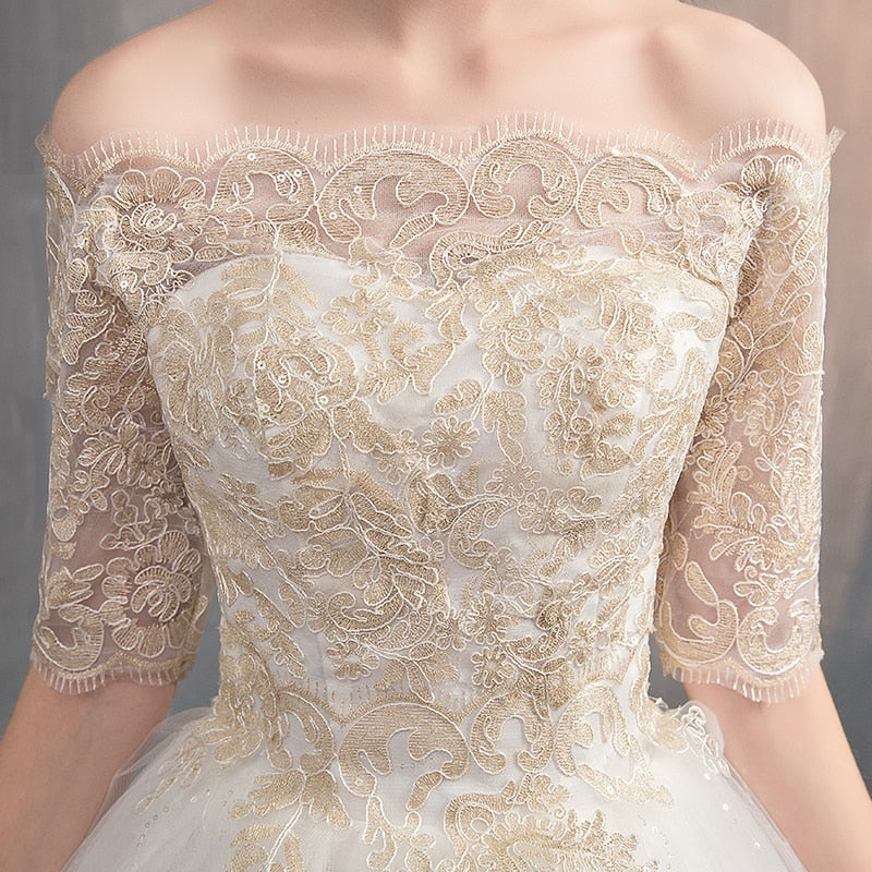 Dreamy Off-Shouler Ball Gown with Delicate Lace Appliques - Mr. & Mrs. Tomorrow