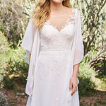 See-Through Back Sheath Wedding Dress with Butterfly Sleeve - Mr. & Mrs. Tomorrow