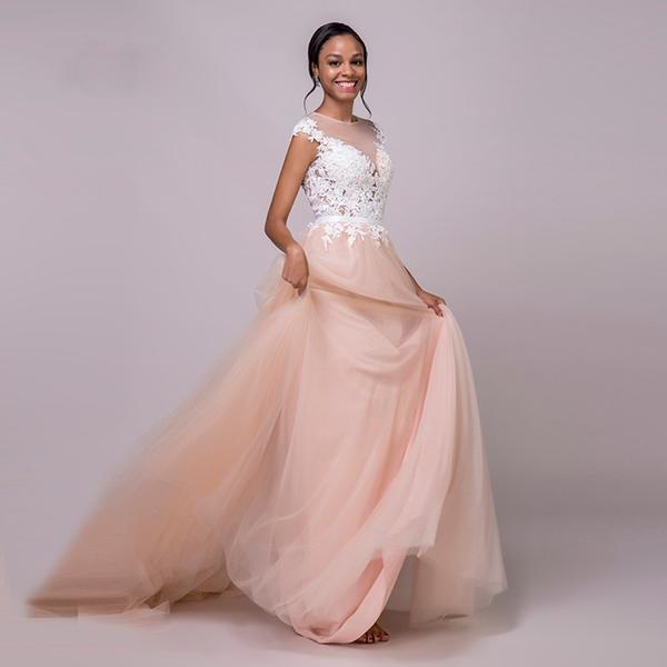 Coral A-Line Wedding Dress with Illusion Neckline - Mr. & Mrs. Tomorrow