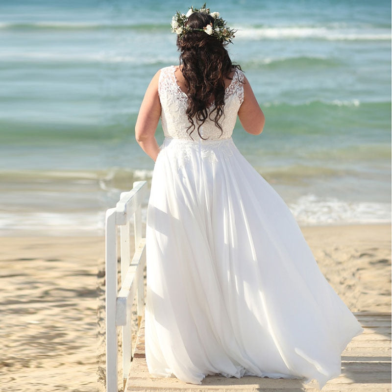 Simple Sheath Wedding Dress with Lace Over Top - Mr. & Mrs. Tomorrow