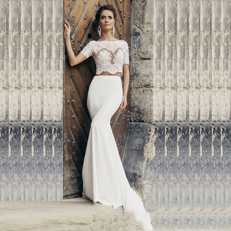 Romantic 2 Piece Wedding Dress with Lace Top and Mermaid Skirt - Mr. & Mrs. Tomorrow
